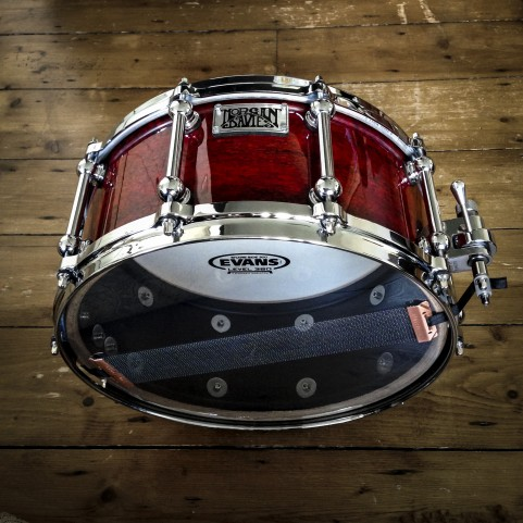 RED PEARL BUBINGA BURST - OAK SNARE DRUM